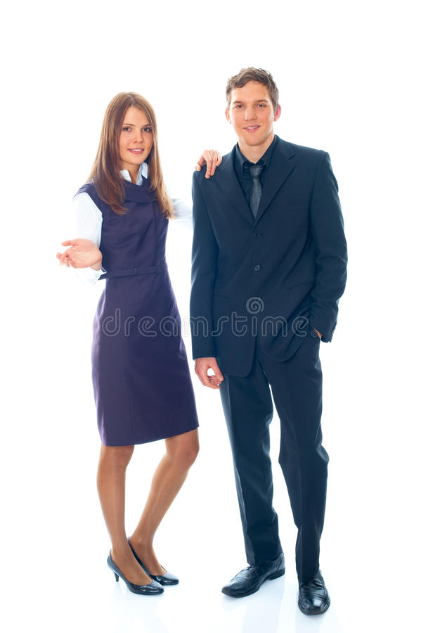 Jonge glimlachende bedrijfsvrouw en bedrijfsman royalty-vrije stock afbeelding