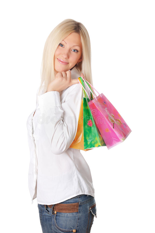 Jonge glimlachende blonde in een wit overhemd royalty-vrije stock afbeelding