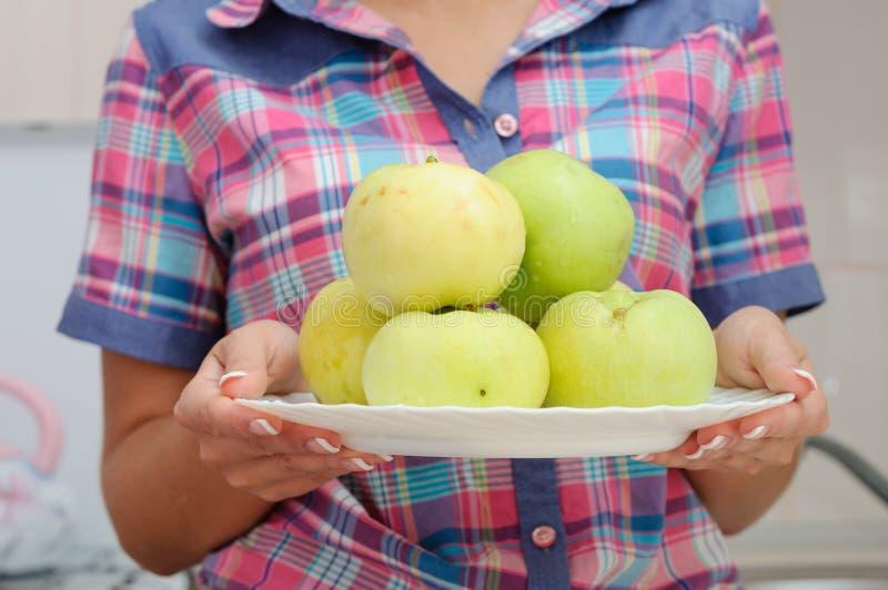 Jonge glimlachende vrouw in Amerikaans stijloverhemd met appelen royalty-vrije stock foto