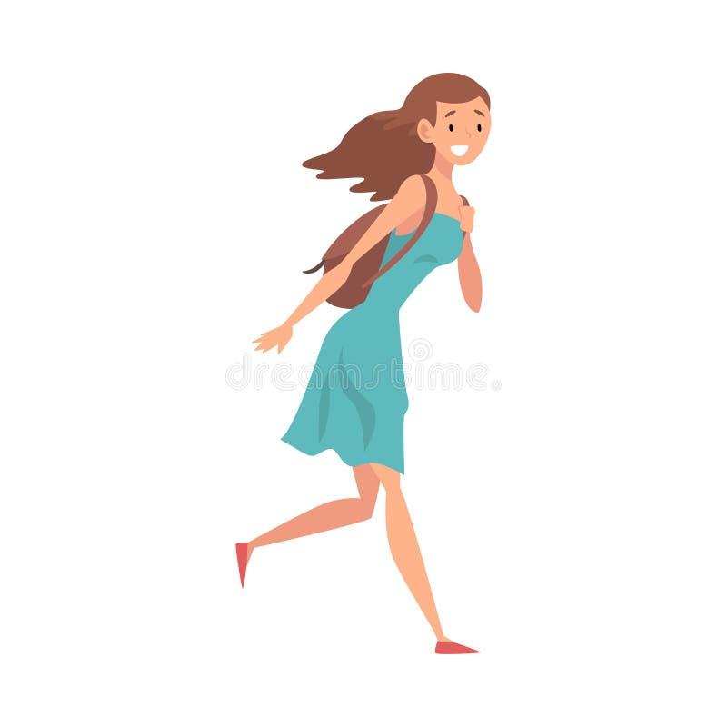 Jonge Glimlachende Vrouw die met hun Zak aan Vangstvlucht lopen, Passagier in Haast bij Luchthaven Vectorillustratie royalty-vrije illustratie