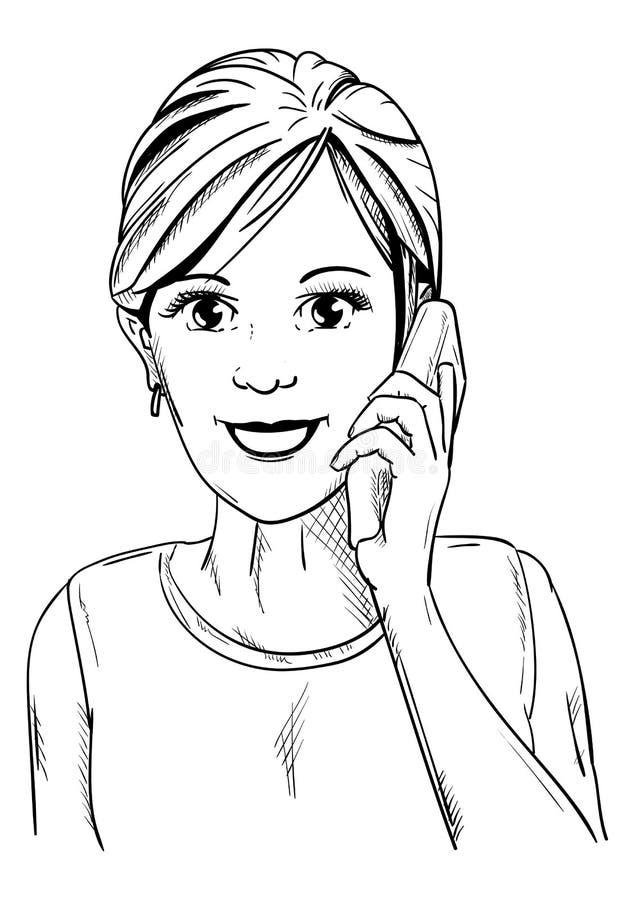 Jonge glimlachende vrouwen royalty-vrije illustratie