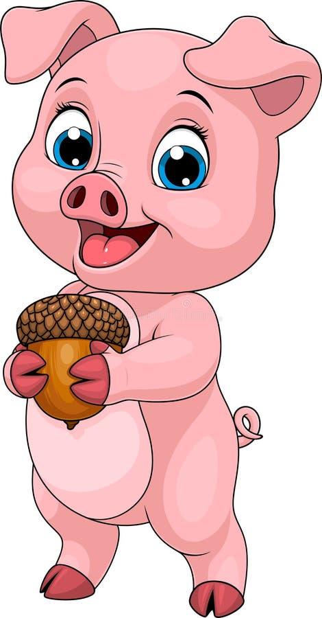Jonge grappig piggy weinig vector illustratie