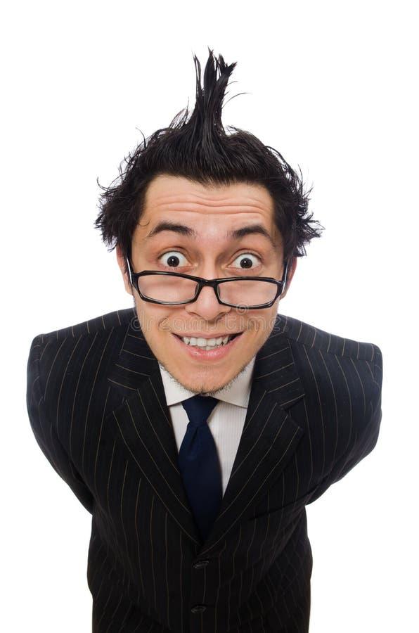 Jonge grappige die werknemer op wit wordt geïsoleerd royalty-vrije stock foto's