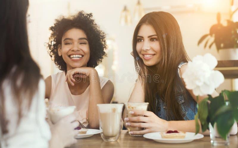 Jonge grappige meisjes die in koffie, het drinken koffie zitten en het spreken royalty-vrije stock afbeelding