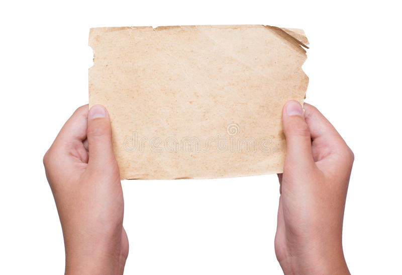 Jonge handen die uitstekend document blad geïsoleerd houden royalty-vrije stock afbeeldingen