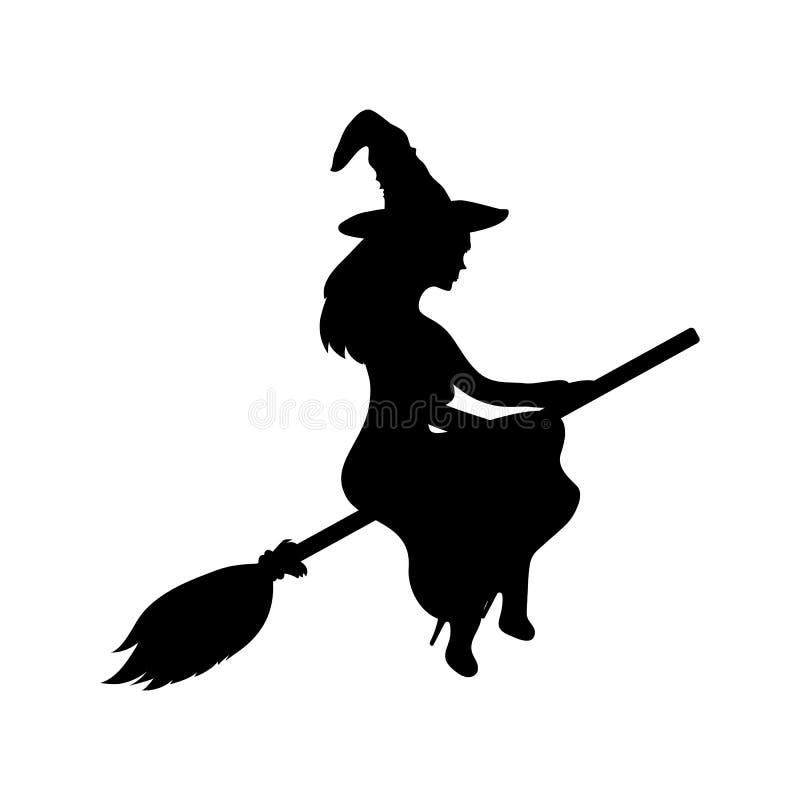 Jonge heks die op een bezemsteel vliegen vector illustratie