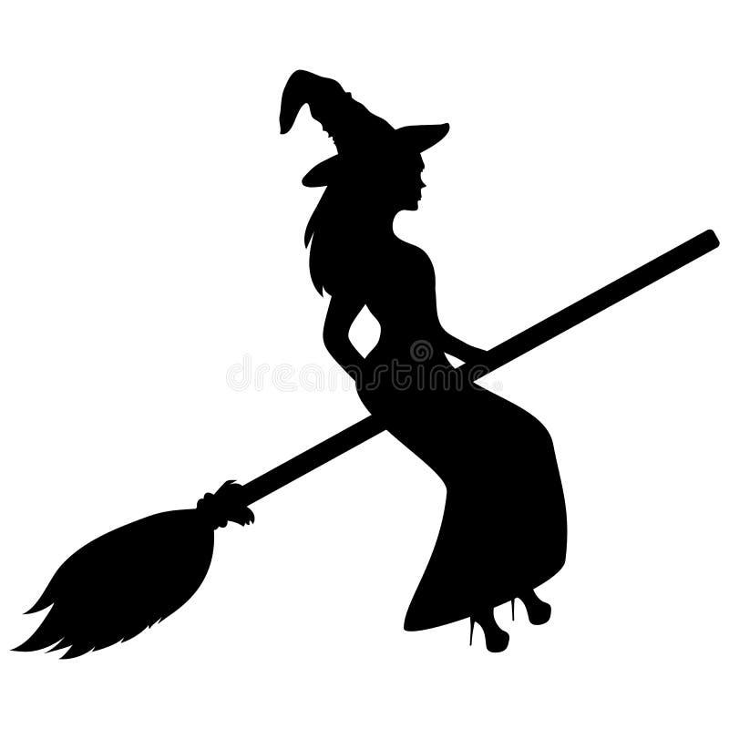 Jonge heks die op een bezemsteelsilhouet vliegen royalty-vrije illustratie
