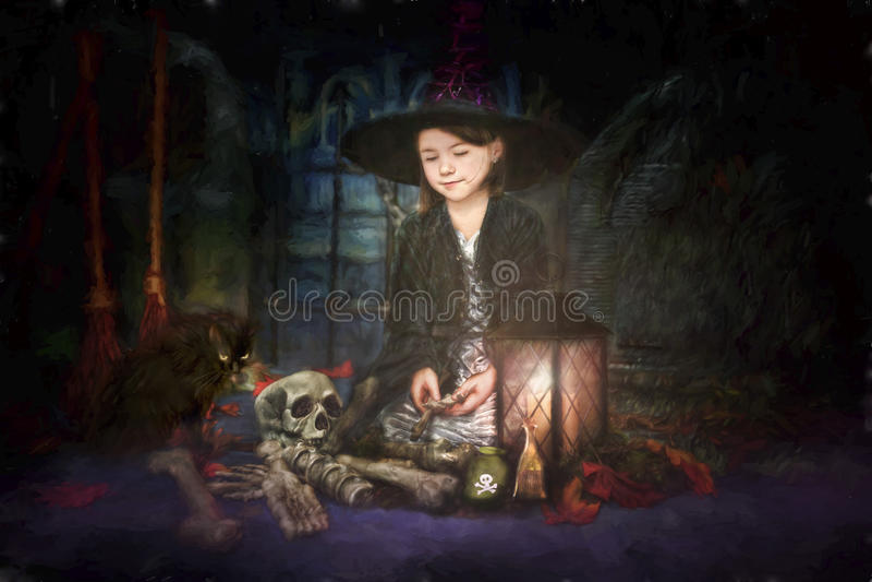 Jonge heksenillustratie stock foto's