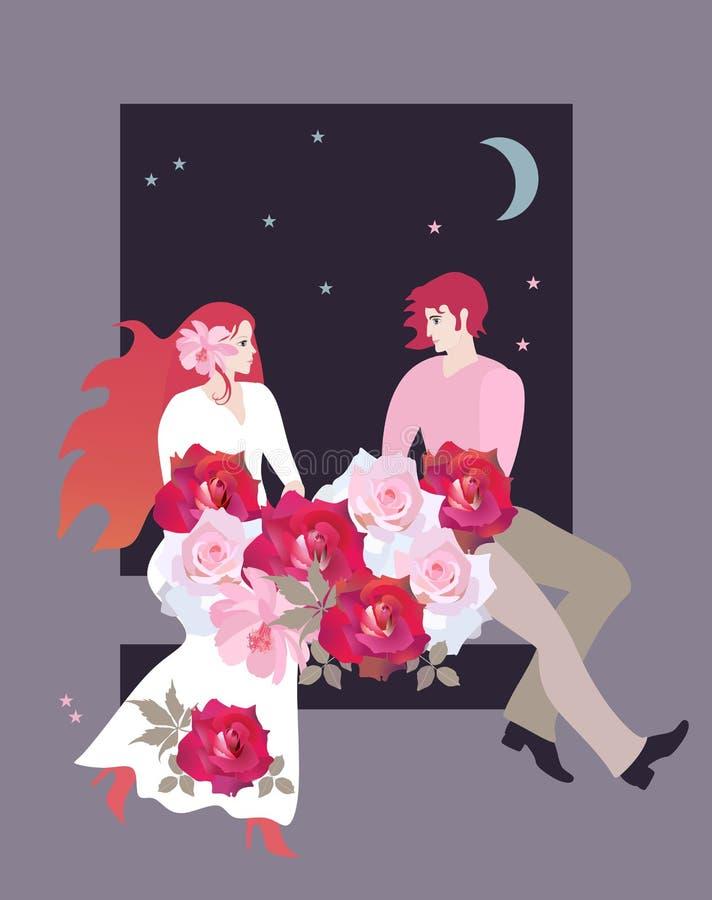 Jonge het houden van paarzitting door het venster met een boeket van rozen bij nacht Huwelijksuitnodiging, de kaart van de de Dag vector illustratie