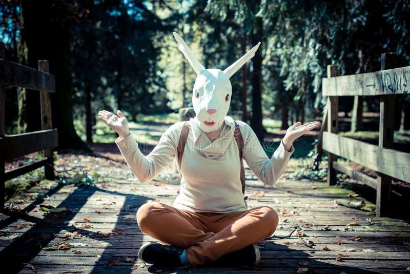 Jonge het maskervrouw van het hipsterkonijn in de herfst stock fotografie