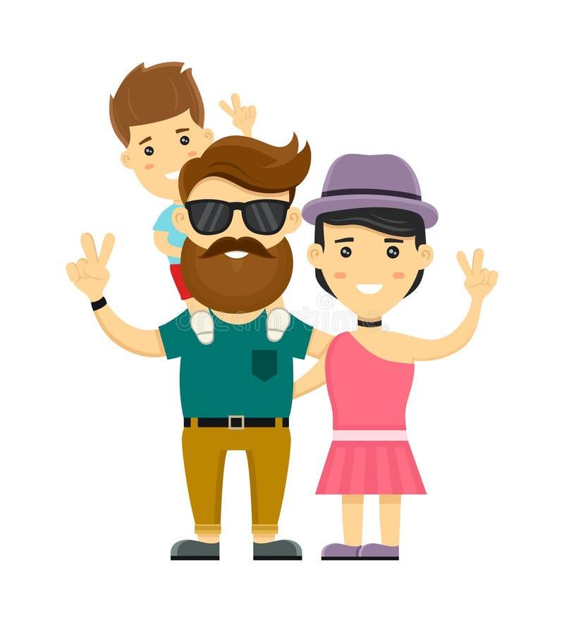 Jonge hipster gelukkige familie Het vlakke karakter van de ontwerp vectorillustratie Op witte achtergrond Moeder, vader, zoon stock illustratie