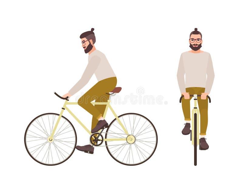 Jonge hipstermens of mannelijk beeldverhaalkarakter met in kapsel en baard berijdende fiets Het modieuze kerel stedelijk pedaling royalty-vrije illustratie