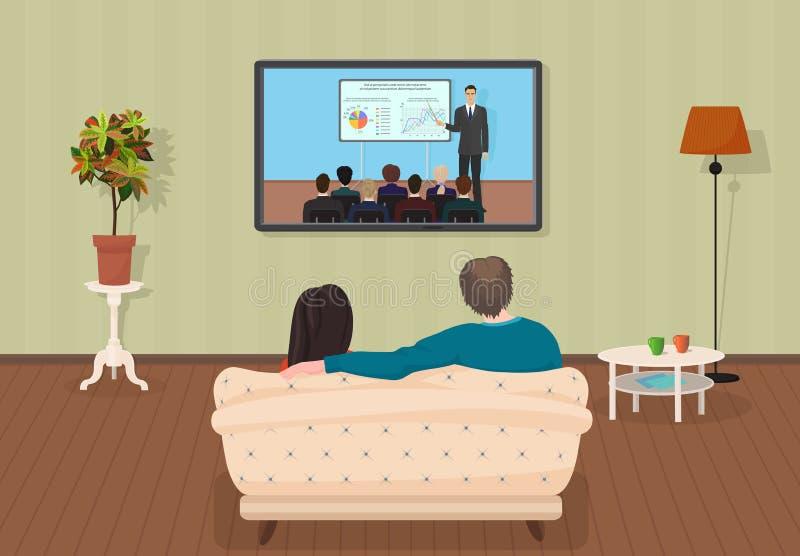 Jonge huiselijke man en vrouwen die op TV letten opleidend het programma samen van een privé-leraar in de woonkamer Vector illust royalty-vrije illustratie