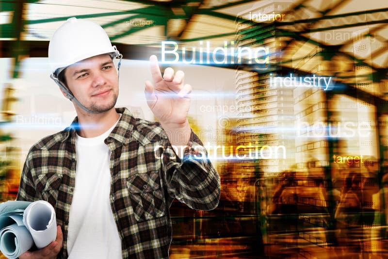 Jonge ingenieur, Architect, zakenman op de bouw richten en bouwconcept die stock afbeelding