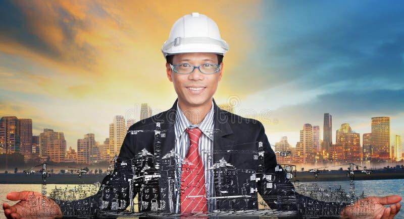 Jonge ingenieur en zijn stedelijk ontwikkelingsprojectu royalty-vrije stock foto