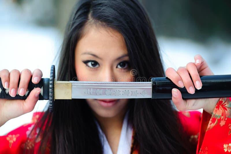 Jonge Japanse vrouw stock afbeeldingen