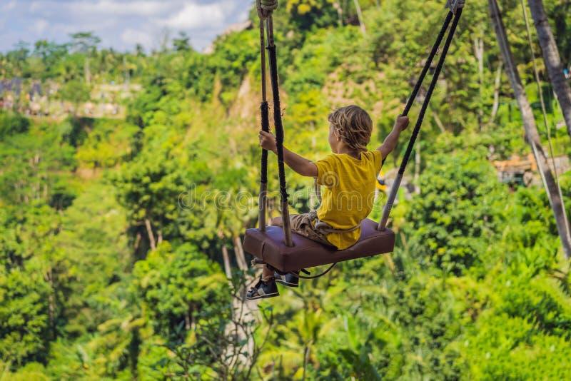 Jonge jongen die in het wildernisregenwoud slingeren van het eiland van Bali, Indonesië Schommeling in de keerkringen Schommeling stock foto