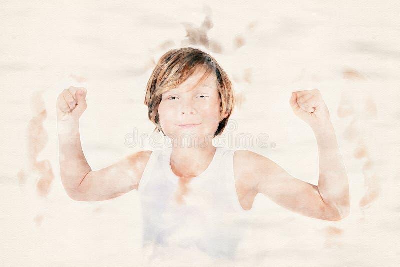 Jonge jongen die zijn spieren toont vector illustratie