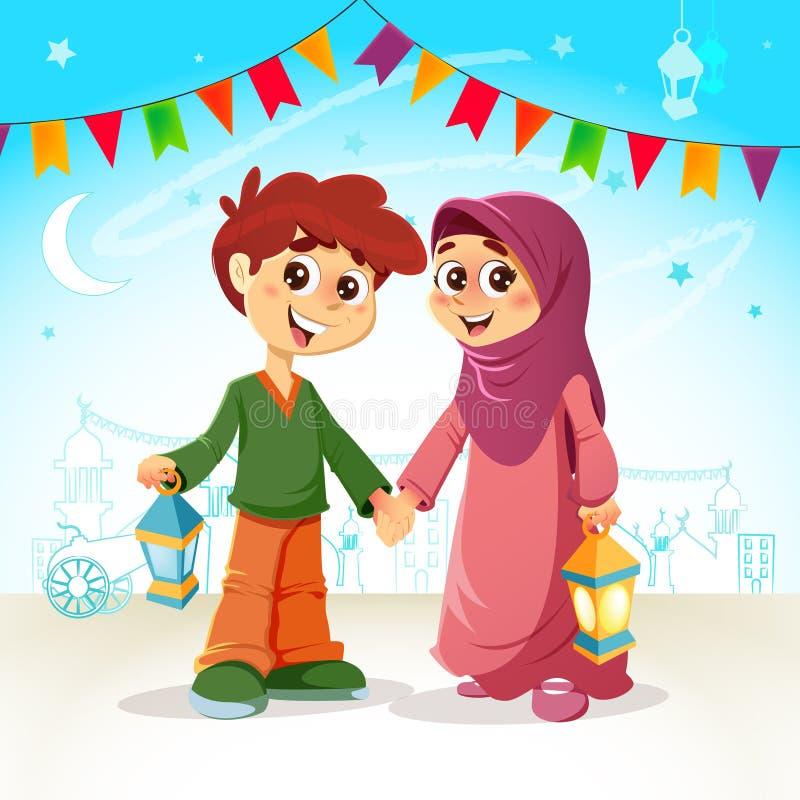 Jonge Jongen en Meisjes het Vieren Ramadan