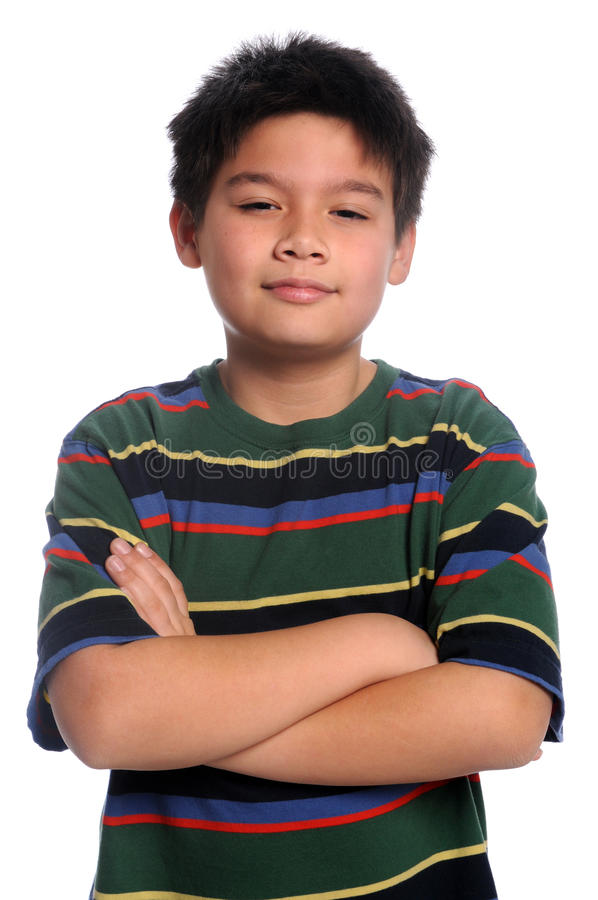 Jonge Jongen met Gekruiste Wapens stock fotografie