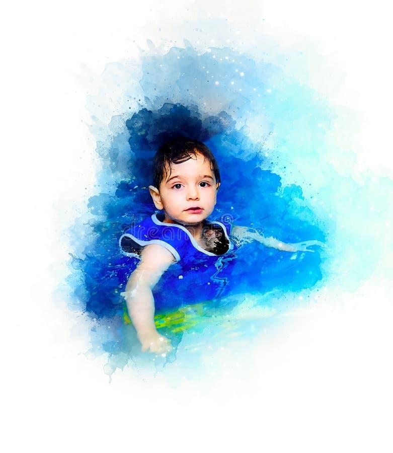 Jonge jongen met opblaasbaar zwemmend vest op de pool en de zacht vage waterverfachtergrond stock illustratie