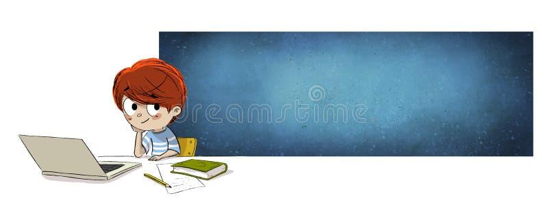 Jonge jongen in school met computer stock illustratie