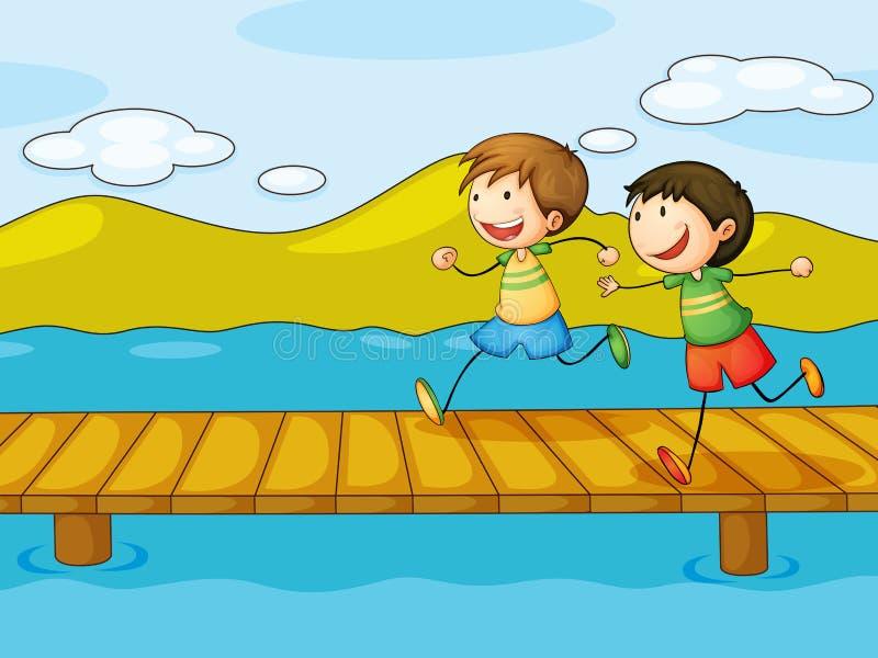Jonge jongens die bij de brug spelen royalty-vrije illustratie