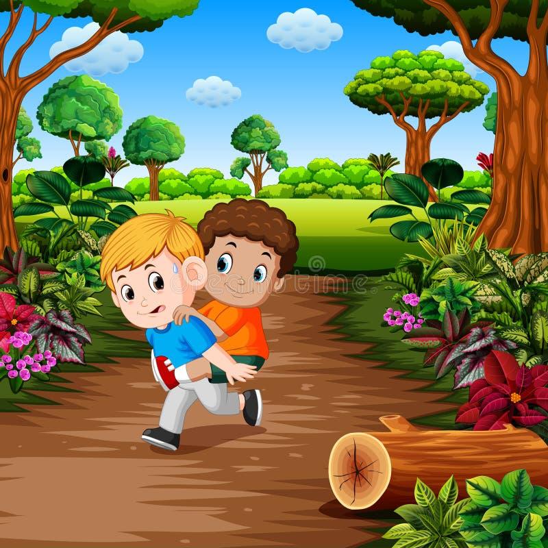 Jonge jongens dragende beste vriend op zijn rug bij het bos royalty-vrije illustratie
