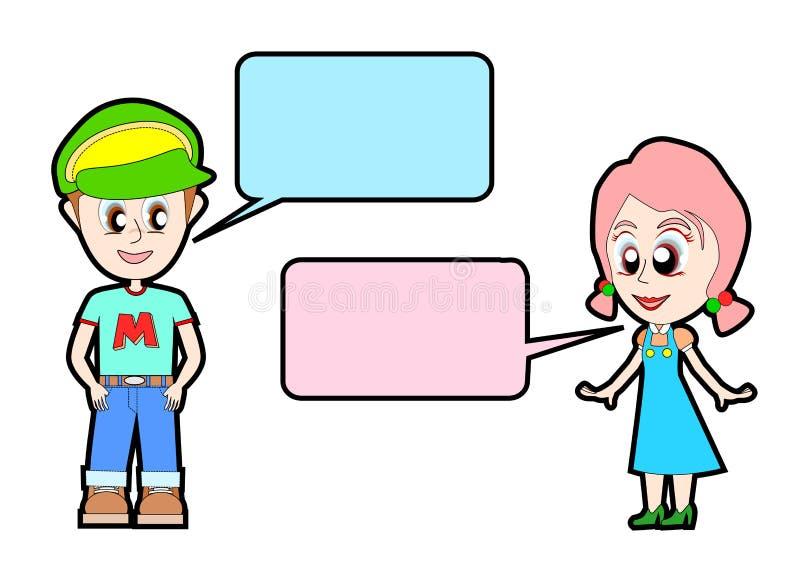 Jonge jongensbespreking aan jong meisje stock illustratie