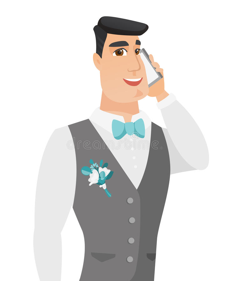 Jonge Kaukasische bruidegom die op een mobiele telefoon spreken stock illustratie
