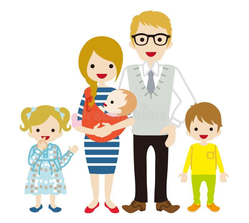 Jonge Kaukasische familie - stock illustratie