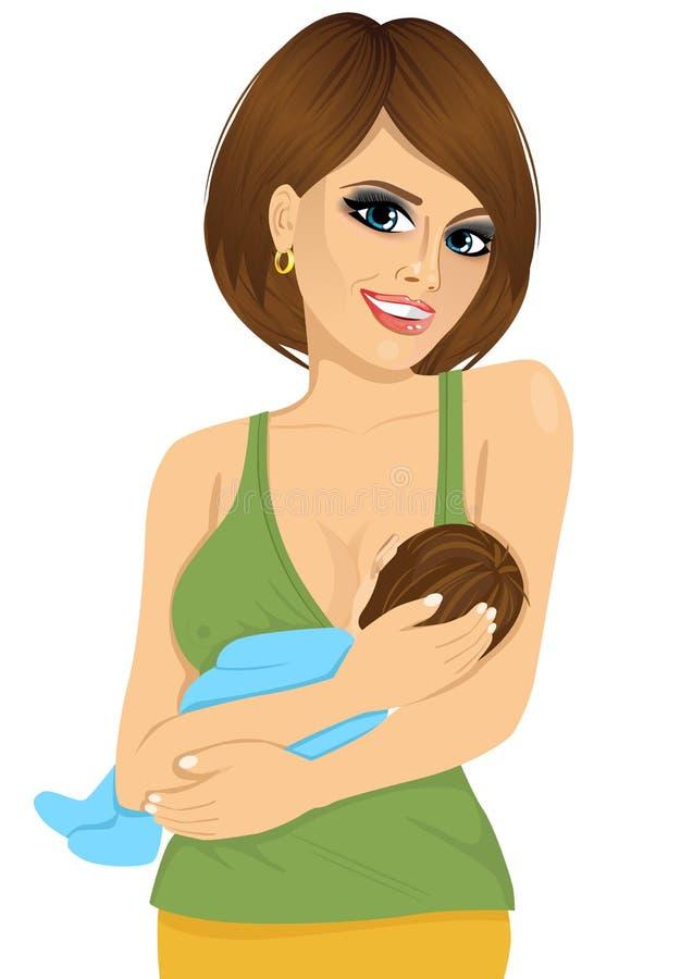 Jonge Kaukasische moeder die haar baby de borst geven vector illustratie