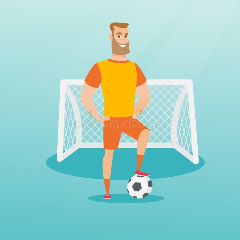 Jonge Kaukasische voetbalster met een bal royalty-vrije illustratie