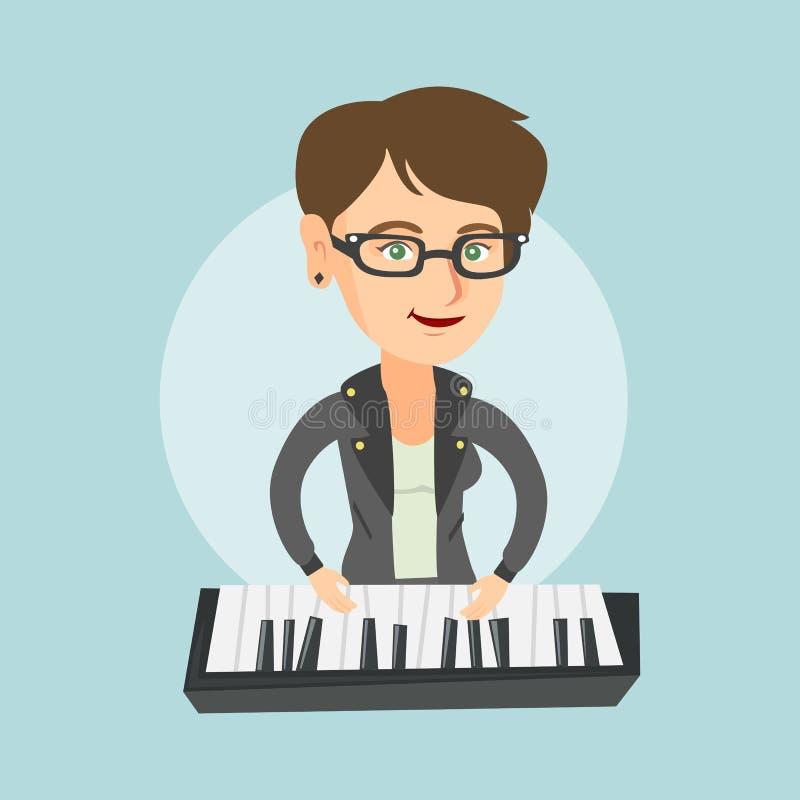 Jonge Kaukasische vrouw die de piano spelen stock illustratie