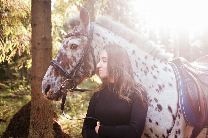 Jonge Kaukasische vrouw die haar paard behandelen, die zijn hals koesteren stock afbeelding
