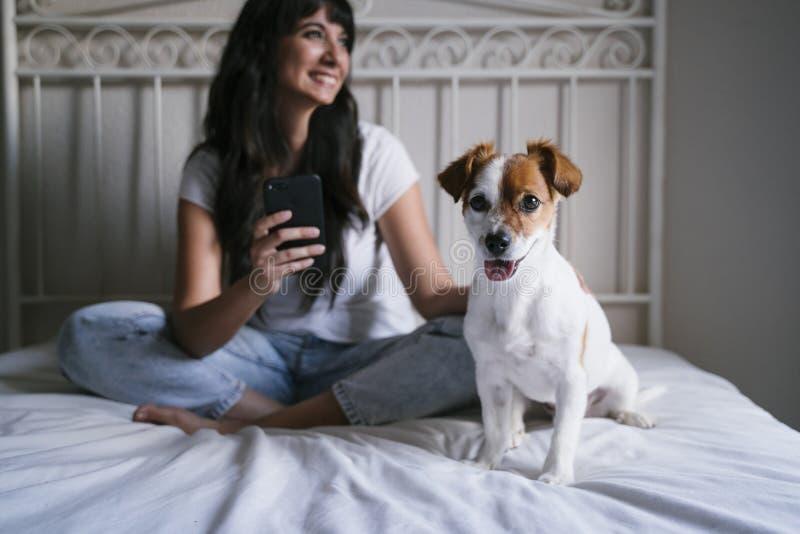 Jonge Kaukasische vrouw op bed die mobiele telefoon met behulp van Leuke kleine hondzitting bovendien Liefde voor dieren en techn royalty-vrije stock afbeeldingen