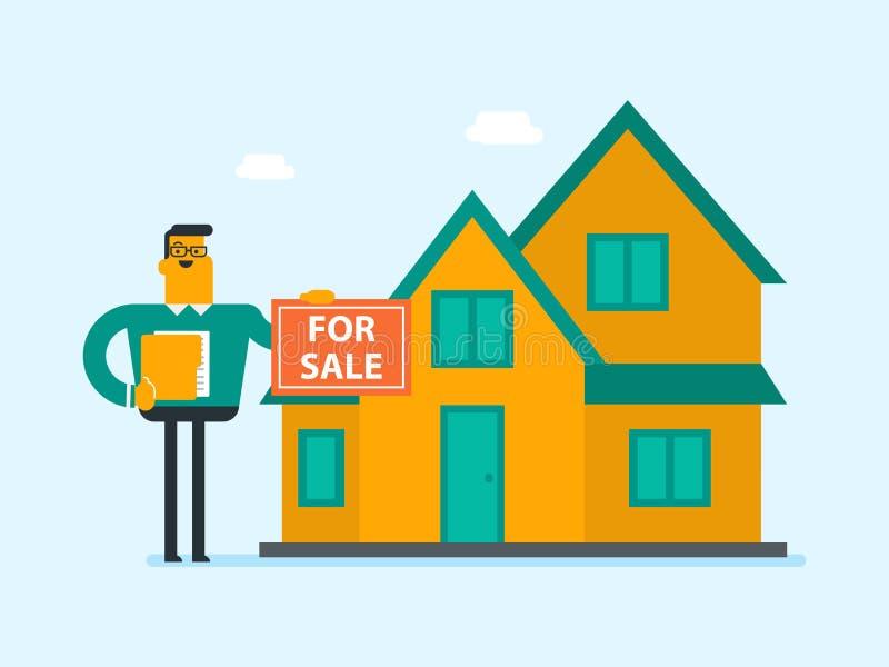 Download Jonge Kaukasische Witte Makelaar Die Het Huis Aanbieden Vector Illustratie - Illustratie bestaande uit lening, contract: 107709071