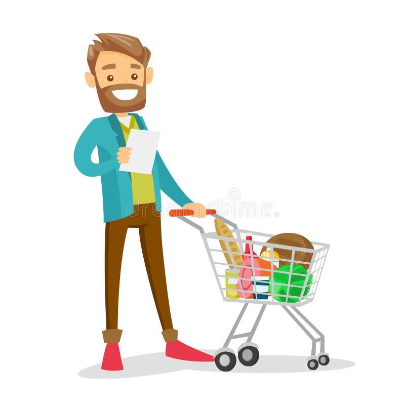 Jonge Kaukasische witte mens die het winkelen lijst controleren royalty-vrije illustratie