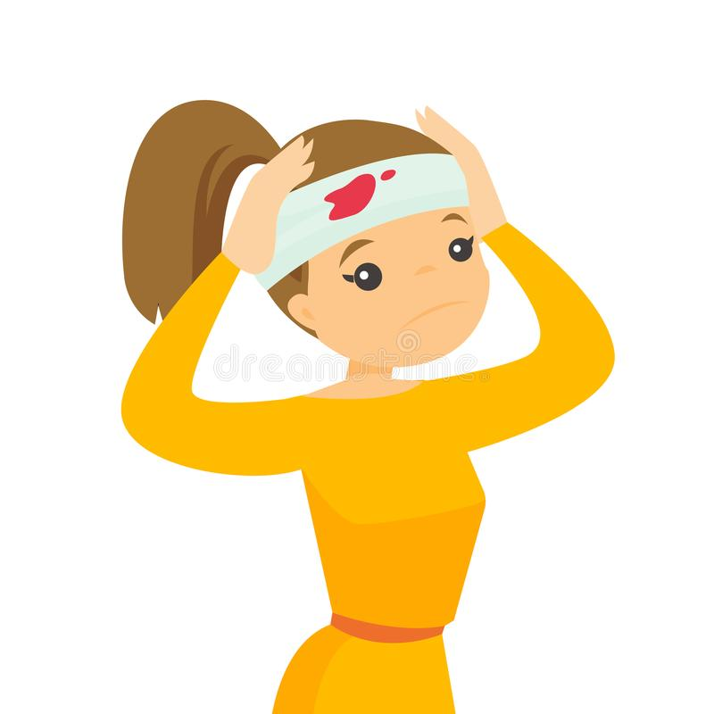 Jonge Kaukasische witte vrouw met verwond hoofd stock illustratie