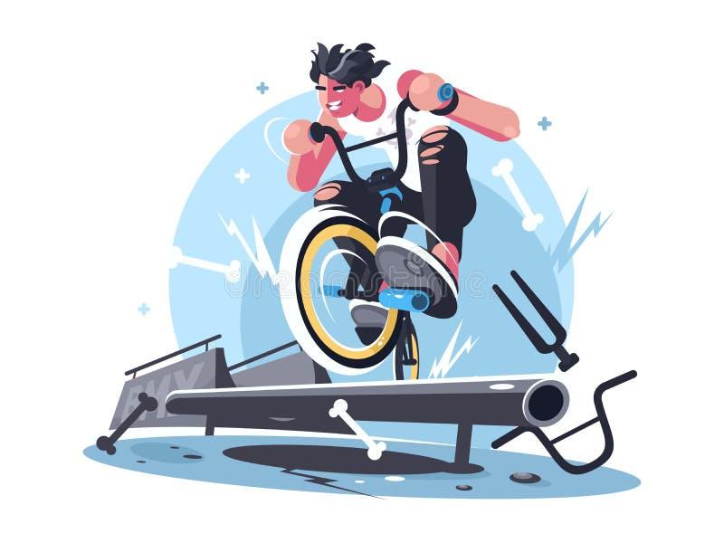 Jonge kerel berijdende fiets bmx stock illustratie