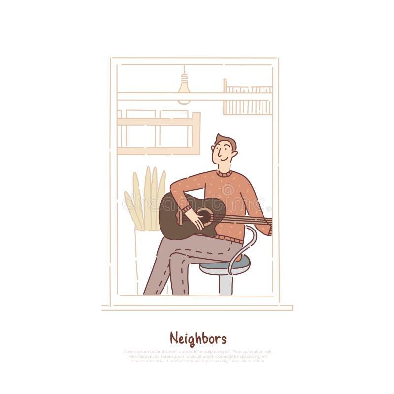Jonge kerel die akoestische gitaar, musicus het praktizeren, de activiteit van de tienervrije tijd, tijdverdrijf, mens in het mal vector illustratie