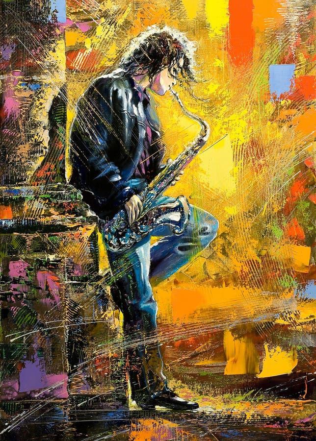 Jonge kerel die een saxofoon speelt royalty-vrije illustratie