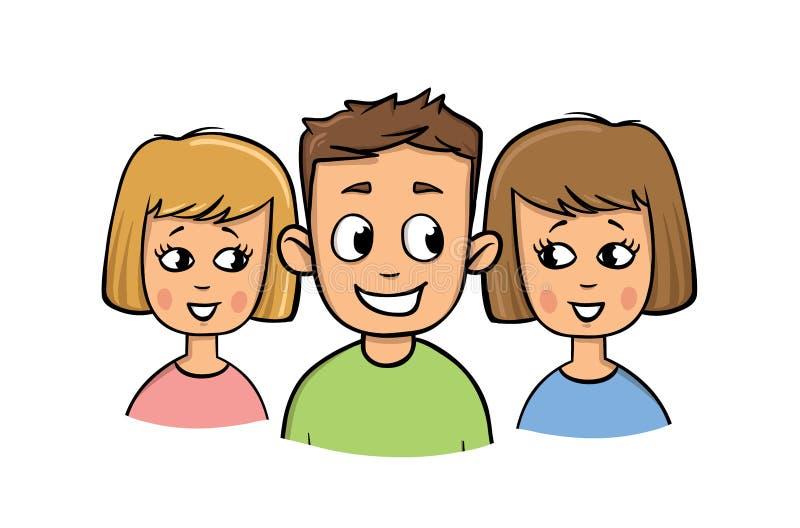 Jonge kerel en twee meisjes het glimlachen De stijl van het beeldverhaal Vlakke vectorillustratie Geïsoleerdj op witte achtergron stock illustratie