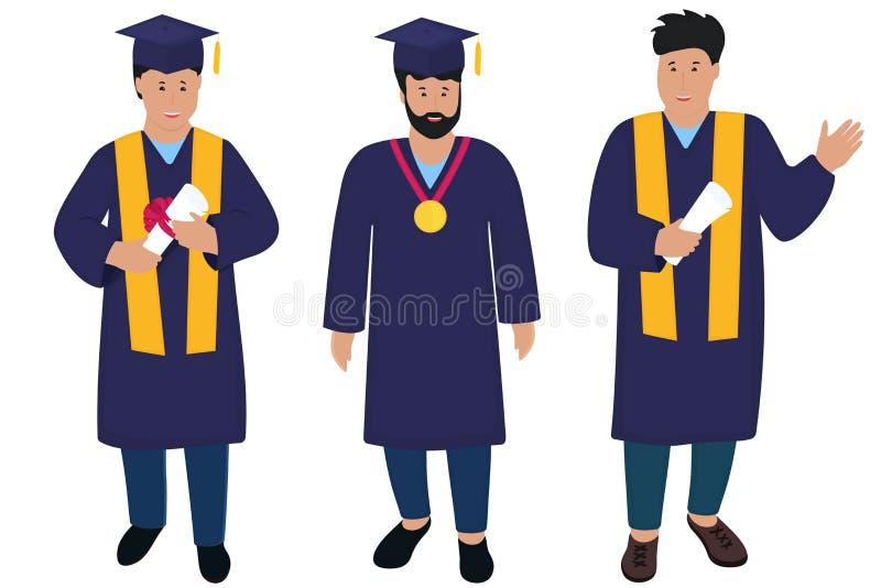 Jonge kerelgediplomeerde in graduatietoga en hoeden met leeswijzers In Vlakke mensen stock illustratie