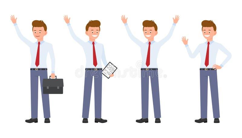 Jonge, knappe, gelukkige beambte die in formele slijtage, bevindende handen die, hello zeggen omhoog golft vector illustratie