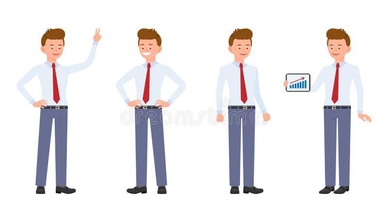 Jonge, knappe, gelukkige beambte in formele slijtage die zich met tablet bevinden, die overwinningsteken, het glimlachen tonen royalty-vrije illustratie