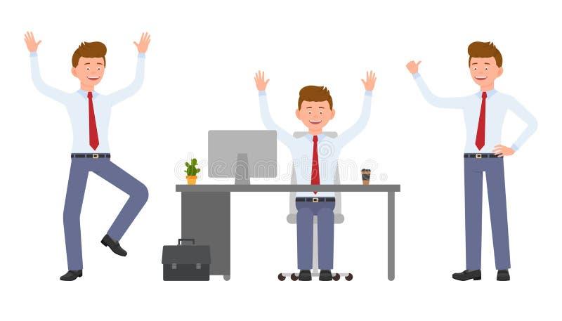 Jonge, knappe, gelukkige bureaumanager in formele slijtage die, het zitten, bevindende handen, hebbend pret omhoog springen royalty-vrije illustratie