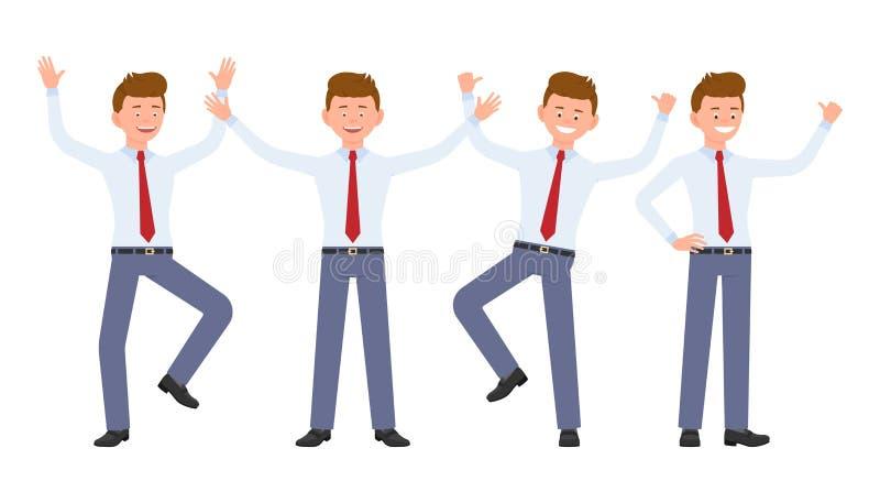 Jonge, knappe, gelukkige bureaumens in formele slijtage die, bevindende handen, hebbend pret omhoog springen vector illustratie