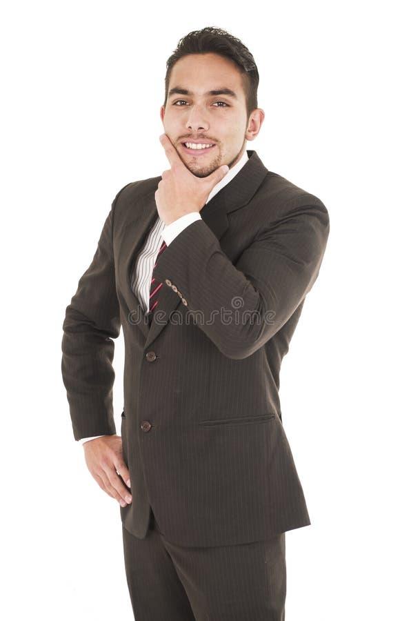 Jonge knappe Spaanse mens in een kostuum royalty-vrije stock afbeelding