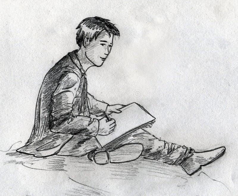 Jonge Kunstenaarsschets Stock Afbeeldingen